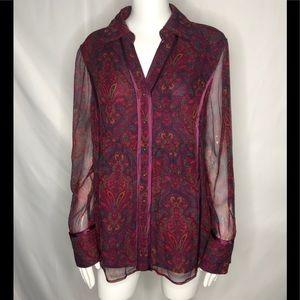 Cold Water Creek 100% Silk blouse size L